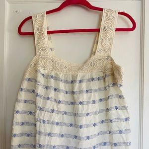 White tank top with blue pattern